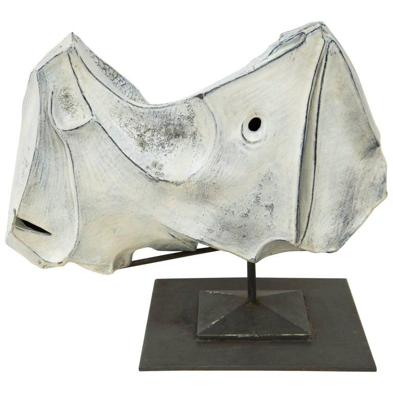 """Marcello Fantoni, """"Rhinocero"""" Sculpture in Ceramic, Italy, 1973"""