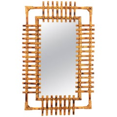 French Riviera 1950s Bamboo Rectangular Sunburst Mirror