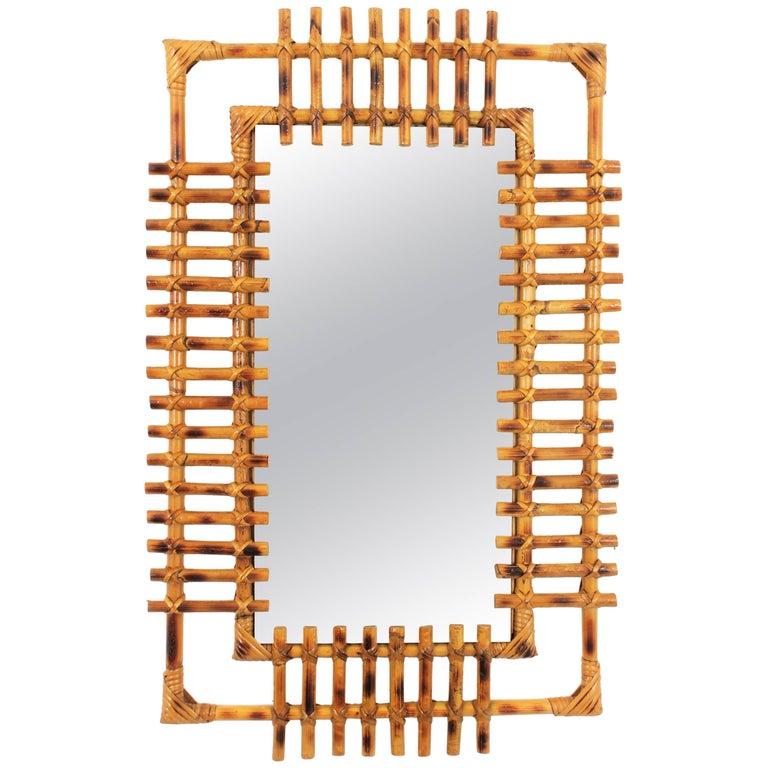 French Riviera 1950s Bamboo Rectangular Sunburst Mirror