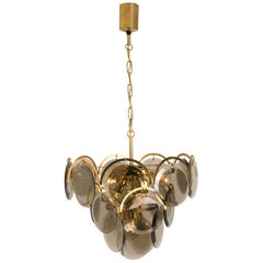 Smoked Glass and Brass Chandelier Attributed to Vistosi, Italy, 1970s