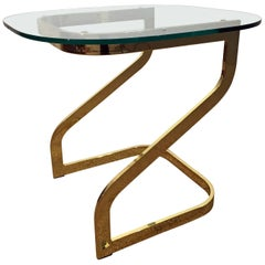 Mid-Century Modern Milo Baughman Golden Chrome Glass-Top End Table