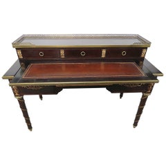 Bronze Mounted Mahogany French Louis XVI Style Leather Top Writing Table Desk