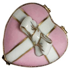 Pale Pink Limoges Heart Box with Bow