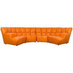 Bretz Cloud 7 Designer Cornersofa Orange Leather Couch