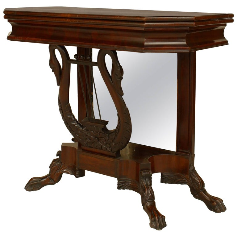 American Empire Mahogany Flip Top Console Table with Mirror