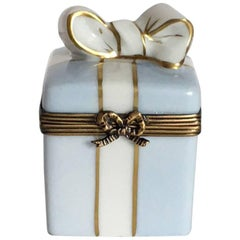 Pale Blue French Limoges Ring Box with Bow