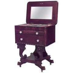American Empire Mahogany Flip Top Sewing Table