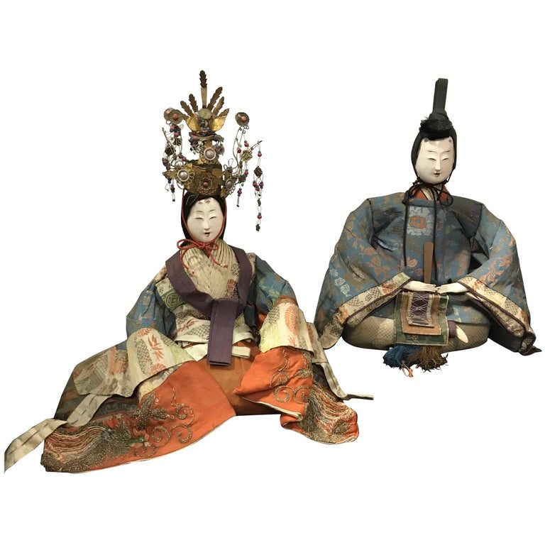 Japanese Superb Pair of TalI Imperial Princess & Prince Dolls, Edo Period, 1840 For Sale
