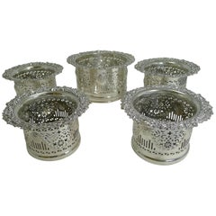 Suite Five Antique English Silver Plated Wine / Champagne Coasters or Holders C
