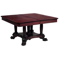 American Empire Mahogany Square Dining Table with an Inlaid Border
