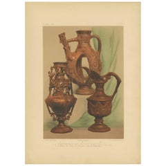 Pl. 2 Antique Print of an Earthenware Vase by Bedford, circa 1857