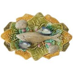 19th Century Majolica Palissy Fish Wall Platter Choisy-le-Roi