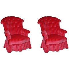 Pair of English Upholstered Buodoir Chairs