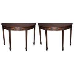 Pair of George III Demilune Console Tables