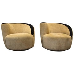 "Pair of Vladimir Kagan for Directional Nautilus ""Corkscrew"" Swivel Club Chairs"