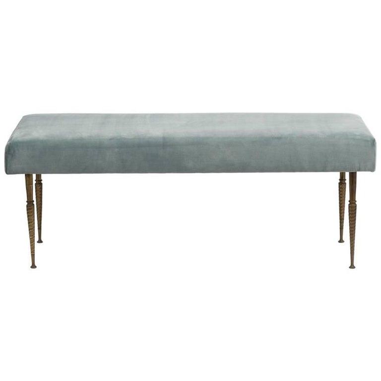 Bronze Legged Velvet Upholstered Stool