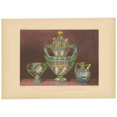Pl. 8 Antique Print of a Faenza Ceramic Vase by Bedford, circa 1857