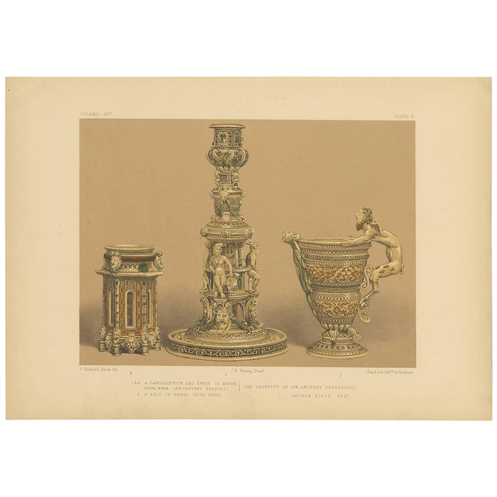 Pl. 9 Antique Print of Henri Deux Ware by Bedford, circa 1857