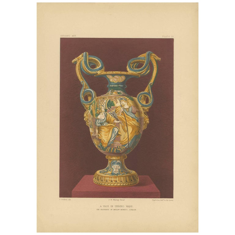 Antique Print Of A Vase In Urbino Ware Plate 10 By F Bedford