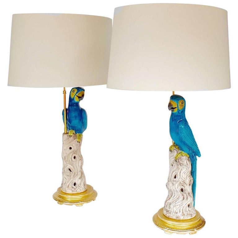 Pair of Blue Parrots Lamps in Faience, circa 1970 For Sale