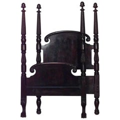 American Empire Style Mahogany Four-Poster Single Size Bed