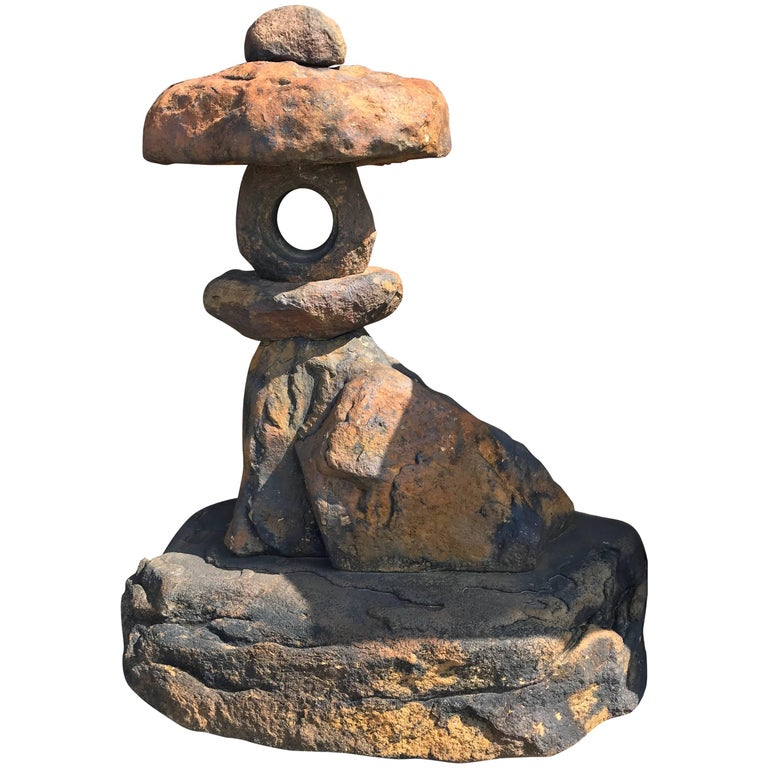 "Japanese Old ""Red Kurama"" Stone Spirit Lantern- One-of-a-Kind  For Sale"