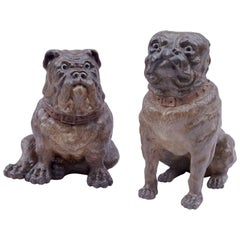 Pair of Polychromatic Ceramics Bulldogs, English Antiques, Late 19th Century