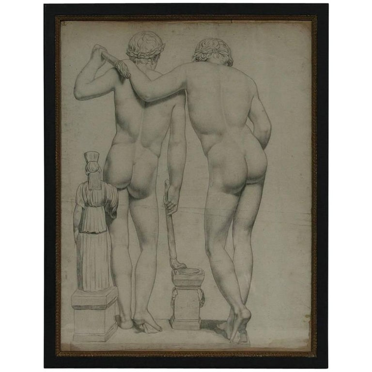 French Early 19th Century Drawing of Male Nudes