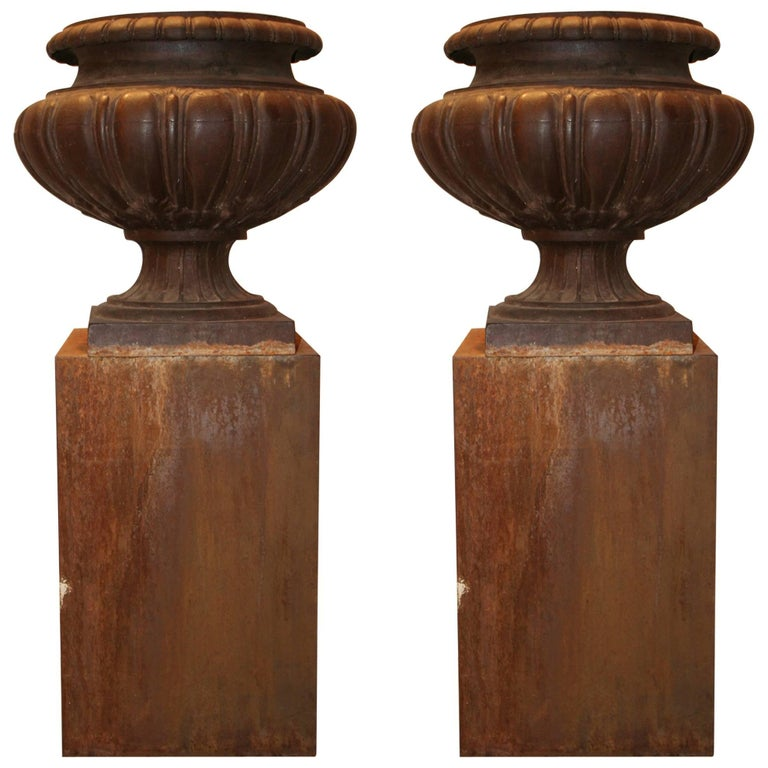 Pair of Cast Iron French 19th Century Garden Urns