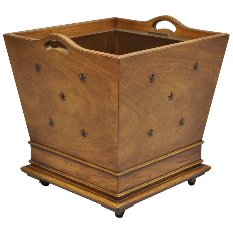 French Regency Style Walnut And Br Fleur De Lis Wastebasket Or Planter For