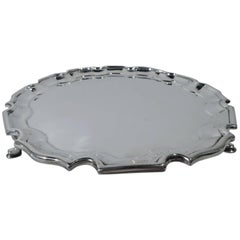 Traditional English Sterling Silver Georgian Piecrust Salver Tray