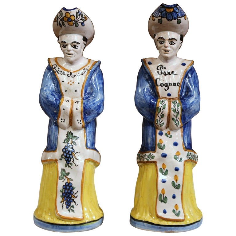 Pair of 19th Century French Hand-Painted Ceramic Bar Figurines or Pitchers