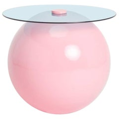 Pluto Table, Powder Pink with Blue Glass