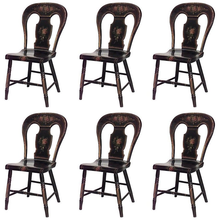 Set of Six American Federal Hitchcock Style Black Painted Side Chairs