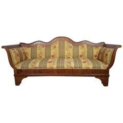 19th Century Italian Charles X Walnut Veneer Sofa