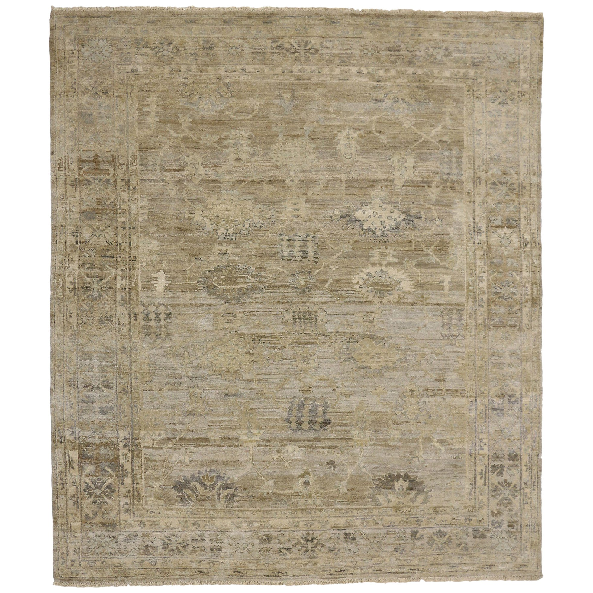 New Contemporary Oushak Design Rug with Transitional Style