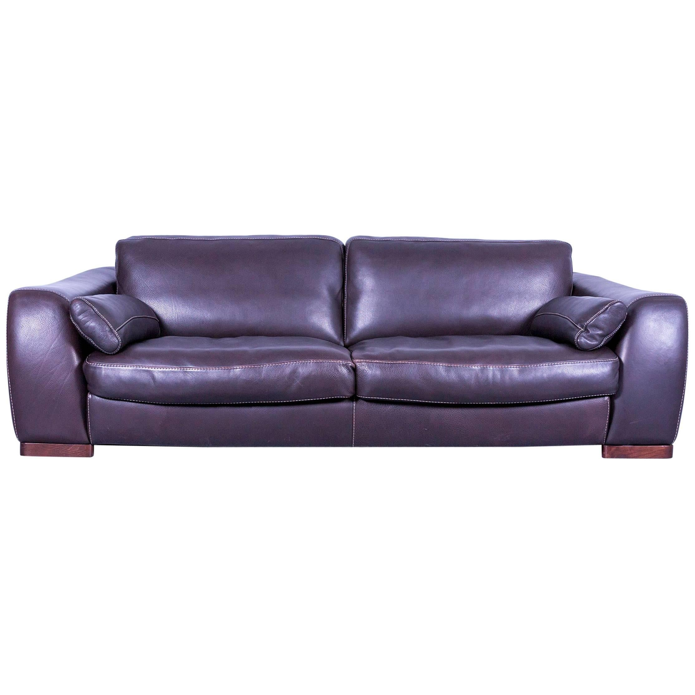 Incanto Designer Sofa Brown Three Seater Couch With Pillows Leather For Sale