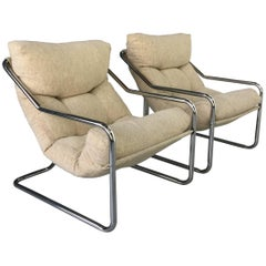 Pair of White 1970s Chrome Sling Chairs