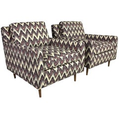 Pair of Mid-Century Modern Flame Stitch Chevron Cube Chairs
