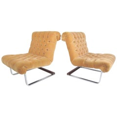 Pair of Italian Modern Slipper Lounge Chairs