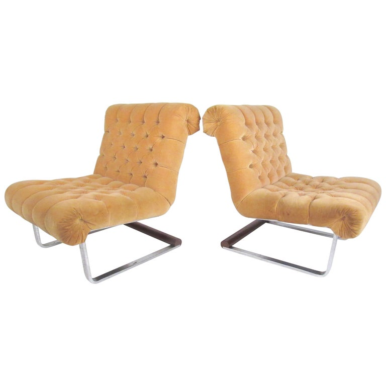 Marvelous Pair Of Italian Modern Slipper Lounge Chairs Theyellowbook Wood Chair Design Ideas Theyellowbookinfo