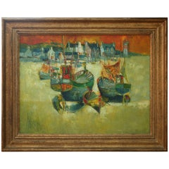 """20th Century Painting """"Port aux Reflets d'or"""" by Rene Margotton"""
