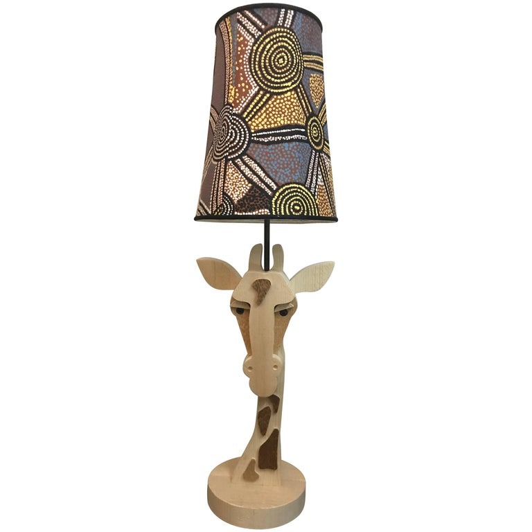 Giraffe Table Lamp, Natural Wood