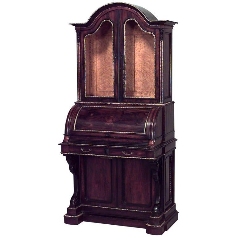American Federal Rosewood and Maple Interior Roll Top Secretary