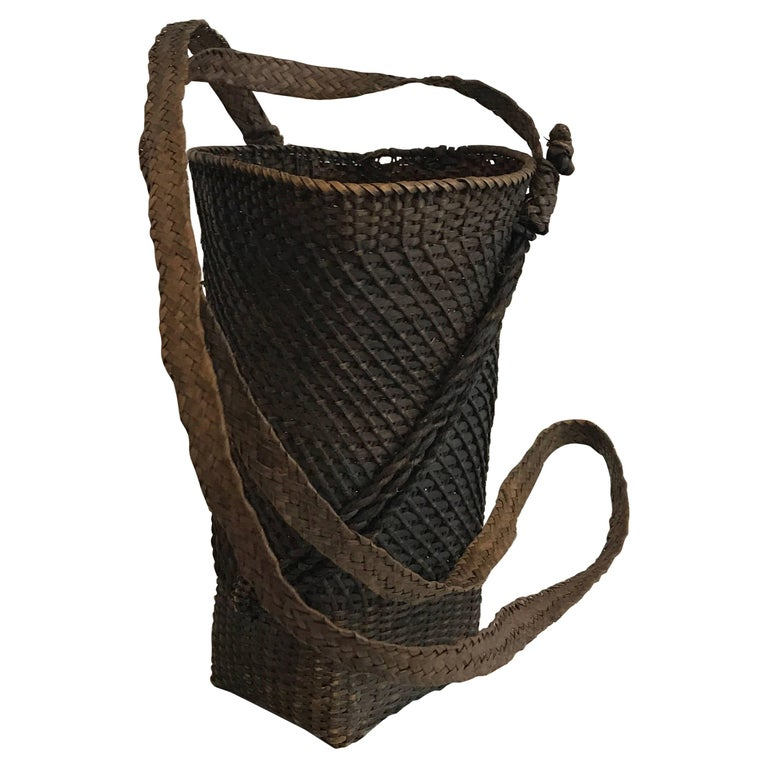 Late 19th Century Japanese Hand-Woven Basket with Woven Strap