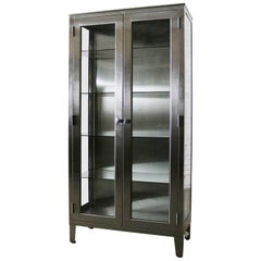 Vintage Stainless Steel Industrial Display Apothecary Medical Cabinet Glass Door