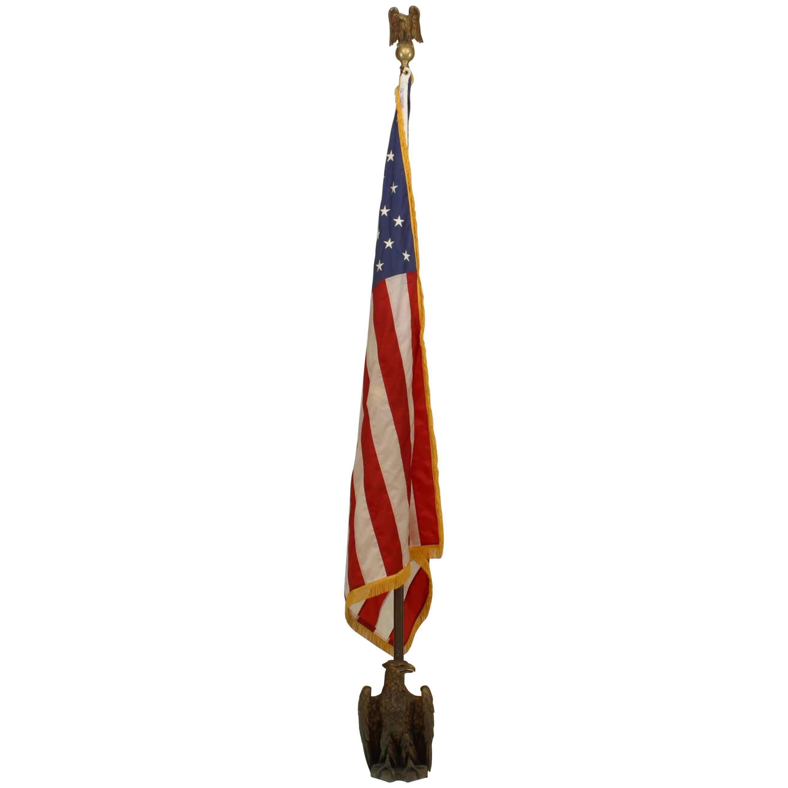 American Federal Style Flag with Brass Pole and Stand