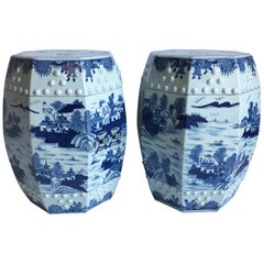 Pair of Chinese Blue and White Octagonal Garden Stools