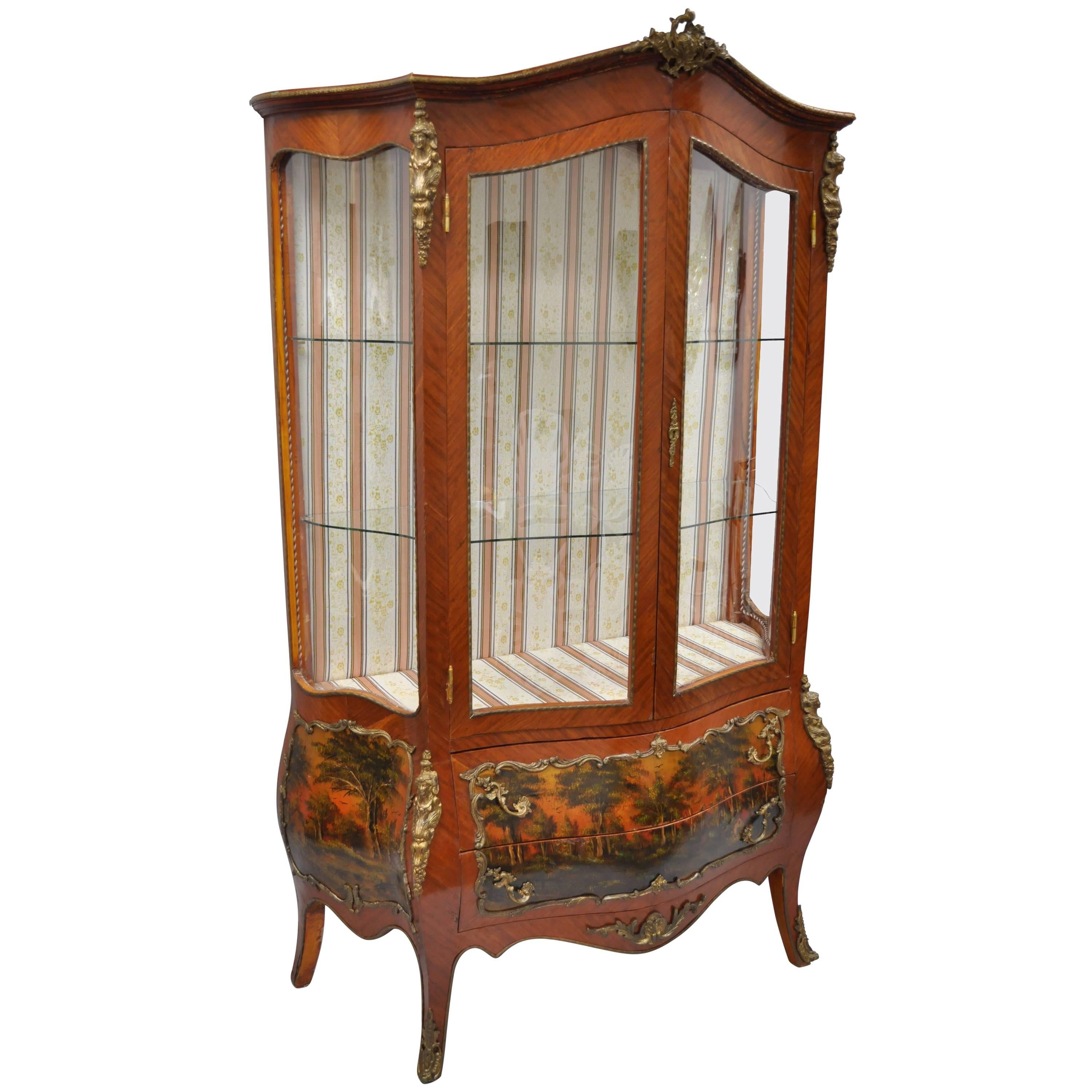 Louis XV French Style Reproduction Bombe Curio China Cabinet Vitrine With  Bronze For Sale