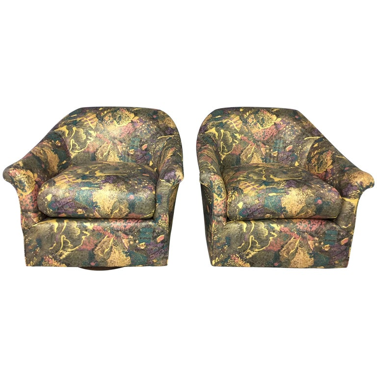 Pair of 1980s Splatter Fabric Wood Base Swivel Chairs